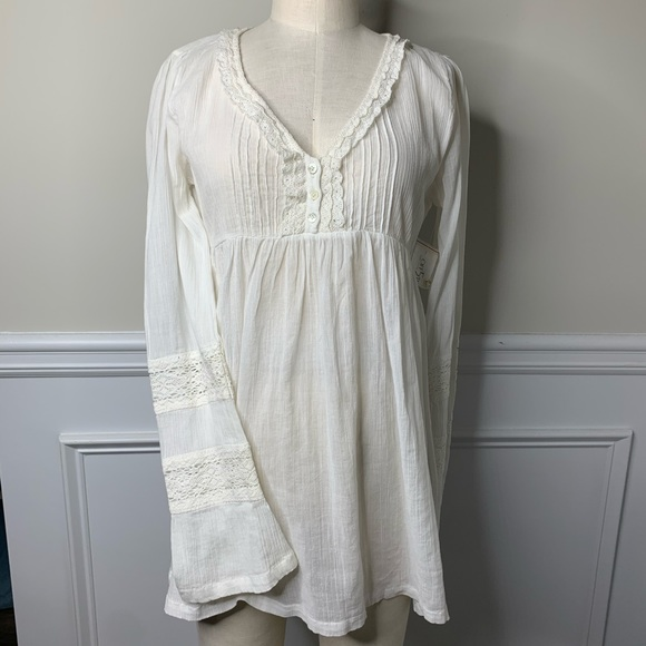 Joie Tops - Joie NEW white bell sleeve lace trim blouse size S